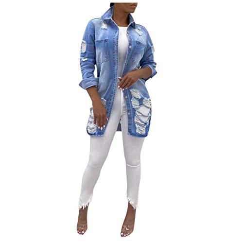 Dasongff Jeansjacke Damen Lang Dünne Sweatjacke Boyfriend Oversized Taschen Mäntel Vintage Rissen Jeans Denim Jacket Destroyed Langhülse Lose Mädchen Cut Out Look