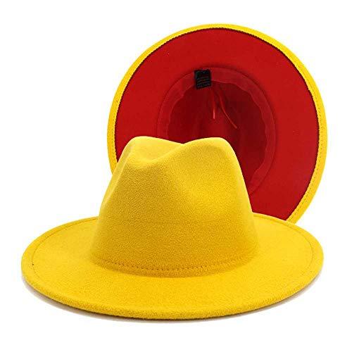 TUOLUO Weiß Rot Patchwork Wolle Filz Jazz Fedora Hut Frauen Unisex Breite Krempe Party Cowboy Cap Männer Gentleman Hochzeitshut L/Schwarz