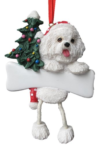 Bichon Frise Ornament with Unique 'Dangling Legs' Hand Painted and Easily Personalized Christmas Ornament