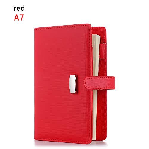 JACINTA A6 / A7 Cuaderno de Negocios Piel Suave Hojas Sueltas Agenda Planner Organizador Viaje Diario Planificar(A7,red)