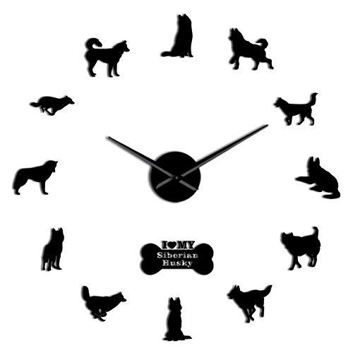 Wrist Watch Wall Clock Siberian Husky Russian Dog Breed DIY Large Wall Clock Self Adhesive Sticker DIY Giant Wall Art Home Decor Watch,Silver,47 Inch,
