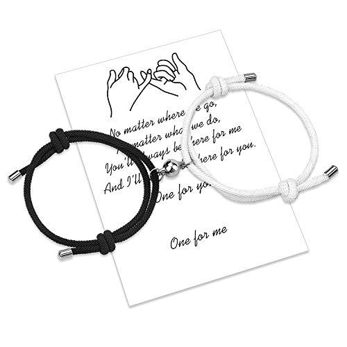 Braccialetti di coppia di attrazione reciproca magnetica 2 pezzi Braccialetti di corrispondenza intrecciati con corda fatta a mano Regalo fidanzato fidanzato (Black and white Magnetic Bracelets)