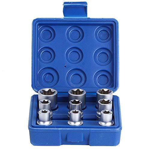 """Juego de llaves de vaso Torx Star Bit, 9 piezas 1/2\""""Drive E-Type Juego de llaves de vaso Torx Star Bit E10-E24 Kit de herramientas de reparación"""