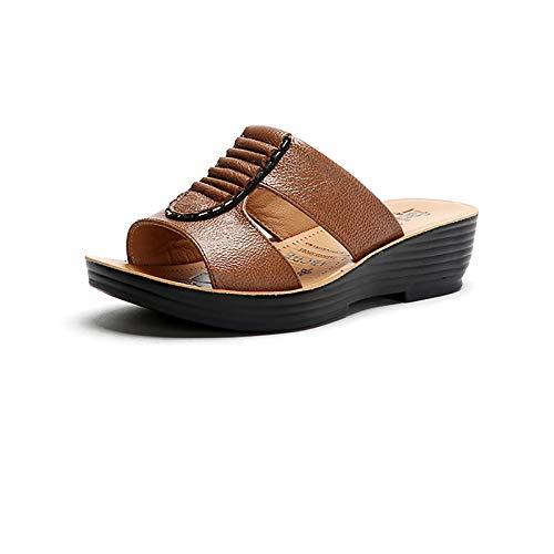 OJBK Zapatillas Casuales para Caminar Mulas Antideslizantes Zapatos Sin Cordones con Cuentas Sandalias con Correa En El Tobillo Sandalias Gladiador con Diamantes Imitación,Latón,39