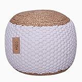 COSA Living Pouf - Puf de punto 100 % algodón de yute, cojín otomano, decorativo, 35 x 55 cm, color blanco y beige