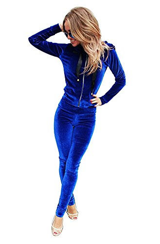 YOUJIA 2pcs Femme Ensemble de Survêtement Manche Longue Hoodies Sweatshirt Cardigan Sweats à Capuche Pantalons Trousers 2pcs (Bleu, CN S)