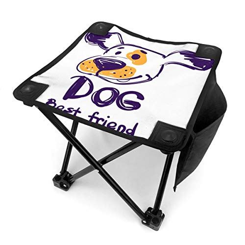 ALLMILL Portable Camping Stool,Hand Drawn Cartoon Animal Dog Face, Big Nose and Text Best Friend,Folding Mini Chair with Carry Bag for Travel Hiking Gardening Picnic Beach BBQ Outdoor Activities