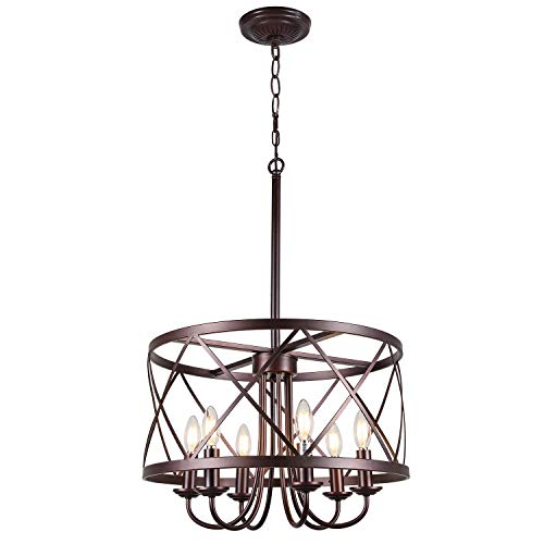 Infront Chandelier, 6-Light Farmhouse Chandelier, Oil Rubbed Bronze Finish Rustic Chanderliers, Modern Chandelier for Foyer Entryway Light Fixtures