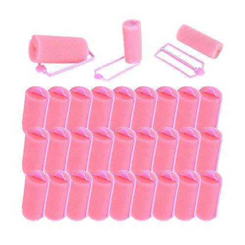 Gobesty Rodillos de esponja para el cabello, 30 piezas de rulos de espuma para peinar el cabello Herramientas de torsión para peluquería DIY para mujeres y niñas, rosa, 2.5 cm