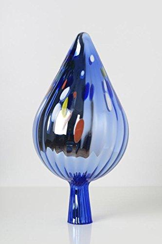 Rosenkugel aus Glas für den Garten – perfekte handgemachte Garten-Dekoration für Ihr Blumenbeetin vielen Farben, Formen und Größen, Hoche 33cm und Durchschnittlich 17cm, Hellblau mit Farben Spitze