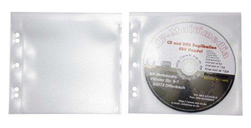 100 CD Hüllen zum Abheften mit Patentierter Lasche Stabile CD Folien Hüllen Gelocht aus Extra Dicke PP Folie 160my Transparent mit Verschlusslasche