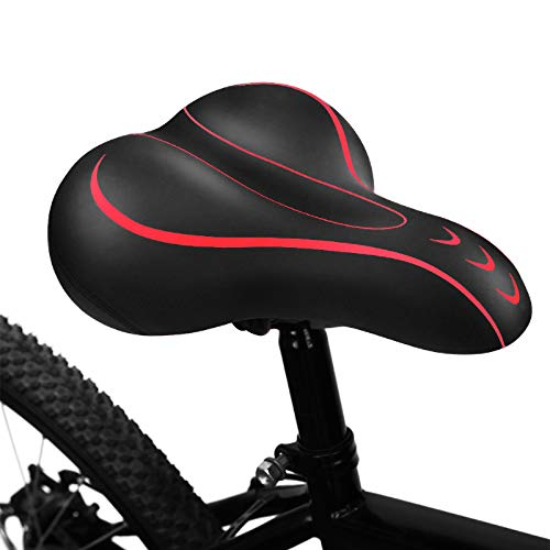 BLUEWIND Bike Seat, Most Comfortable Bicycle Seat Memory Foam Waterproof Bicycle Saddle - Dual Shock Absorbing - Best Stock Bicycle Seat Replacement for Mountain Bikes, Road Bikes-Red