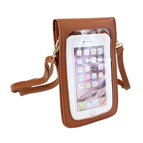 irisaa Bolso bandolera para mujer con compartimento para teléfono móvil y correa ajustable, color Marrón, talla Einheitsgröße