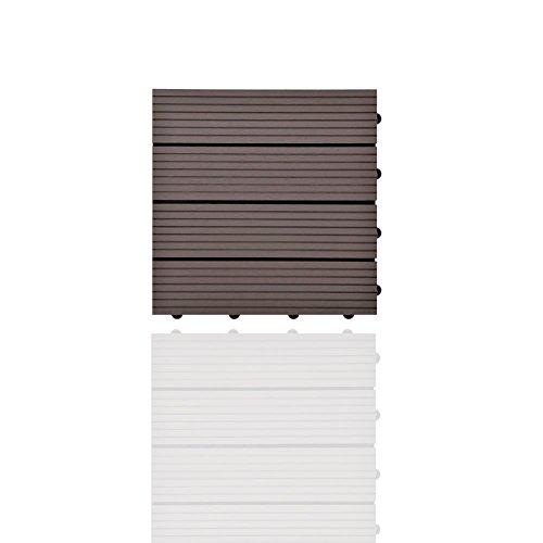 SIENOC 11 Stück/ca. 1m² Terrassen-Fliese aus WPC Kunststoff, 11er Spar Set für 1 m², Garten-Fliese, Balkon Bodenbelag mit Drainage Unterkonstruktion 30x30cm (11x Dunkelbraun 300 * 300 * 22mm)