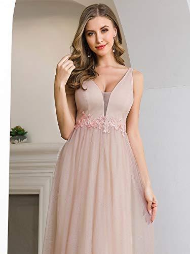 Ever-Pretty Vestido de Dama de Honor Largo Mujer Tul Lentejuelas Corte Imperio Apliques A-línea Escote V Fiesta Rosa Desnuda 42