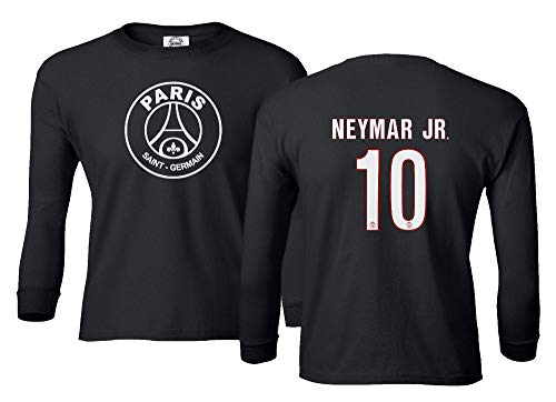 Spark Apparel New Paris Soccer Shirt #10 Neymar Jr. Boys Girls Youth Long Sleeve T-Shirt (Black, Youth Medium)
