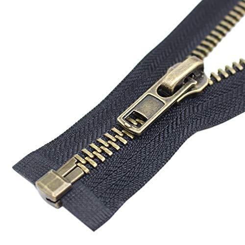 ByaHoGa 60 cm #8 Fermetures éclair Métal Séparable Noir Fermeture Éclair Métallique A Zipper Glissière pour Les Jackets (Laiton Antique)