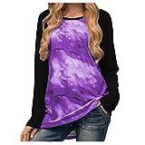Dasongff Tie-Dye Starry Sky - Camiseta de manga larga para mujer, estilo casual, jersey, camiseta, blusa, camisa, blusa, camisa, blusa