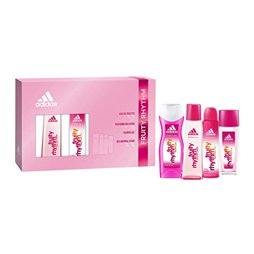 Adidas Fruity Rythm Set Femenino contiene: Fruity Rythm Eau de Toilette 75ml, Fruity Rythm shower Gel, Desodorante Natural de spray 75 ml y Deo Natural Spray 75ml