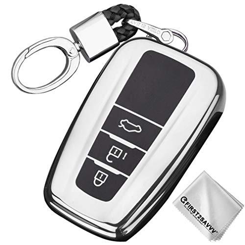 Plata Funda para Llave Smart Key para Coche 2018 2019 2020 Toyota Camry Corolla Avalon Prius C-HR RAV4 Crown 3 4 Buttons Carcasa Protectora [Suave] de [Silicona]