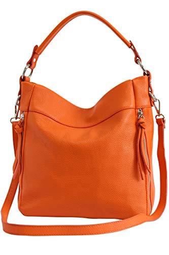 AmbraModa GL030 - Damen echt Ledertasche Handtasche Schultertasche Beutel Umhängtasche (Orange)