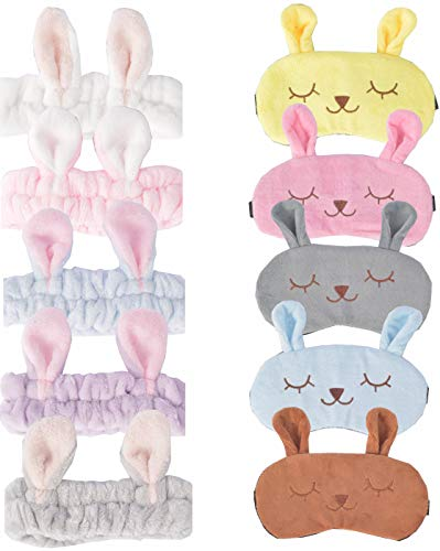 Rabbit Sleeping Masks, 5 Pack Soft Plush Blindfold Cute Rabbit Sleep Mask + 5 Head Wraps, Eye Mask Cover for Girls Women Kids, Sleep mask Cute for Girls, Rabbit Eye mask (Rabbit)