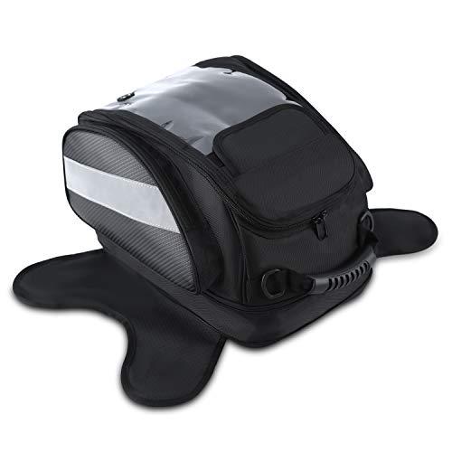 Bolsa Depósito Moto Bolsa de Tanque Motocicleta Magnética de Tela Oxford Impermeable Navegación Universal Negro (28L)