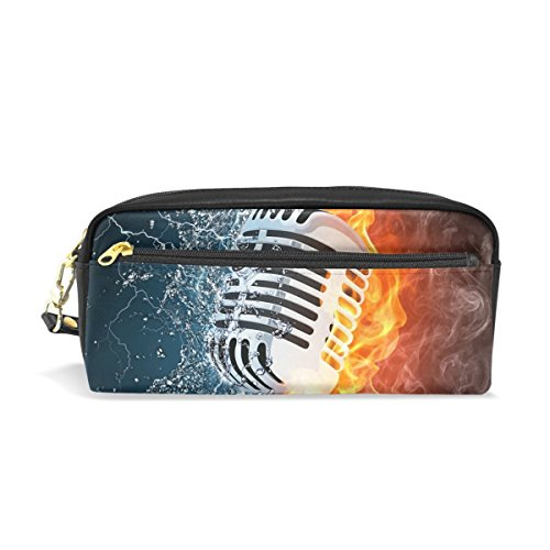 BONIPE Fire en Water Microfoon Muzikaal Potlood Case Pen Box Buidelzak School briefpapier benodigdheden Reizen Cosmetische Make-up Tas