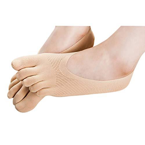 DAIJIA Calcetines Ortopédicos Compresión Calcetines Dedos Las Señoras Forro Ultrabajo EtiquetaGel Transpirable (Beige, 1PC)
