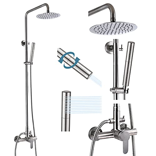 gotonovo Outdoor Shower Faucet Sets Brushed Nickel 304 Stainless Steel...