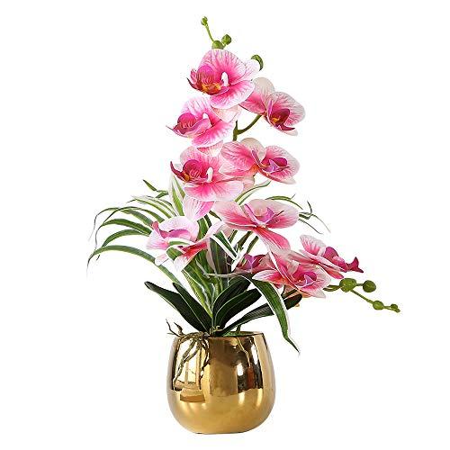 ENCOFT Kunstblumen orchideen Kunstpflanze Künstliche Blumen aus Eva Keramik Wohndeko Kunstbulme mit Übertopf Garten Balkon Wohnzimmer Hochzeit(43 * 12, Lila)