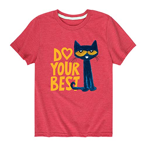 Pete the Cat Pete Do Your Best - Youth Short Sleeve Graphic T-Shirt Heather Red