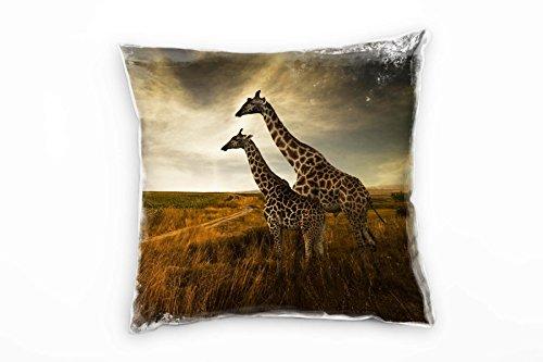 Paul Sinus Art Tiere, braun, Giraffen, Afrika, Savanne Deko Kissen 40x40cm für Couch Sofa Lounge Zierkissen - Dekoration zum Wohlfühlen