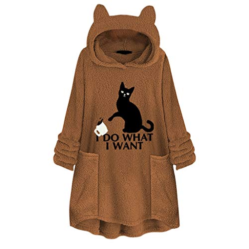 Best Review Of Crazyfashion Women Fleece Embroidery Cat Plus Size Hoodie Pocket Sweater Blouse Yell...