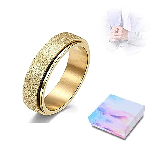 HOUHU Stress Release Rotatable Ring,Spinner Ring For Women Men,Rotatable Sandblasting Stainless Steel Bands Casual Tail Ring,Spinner Ring For Women Anxiety Relief 5# Oro