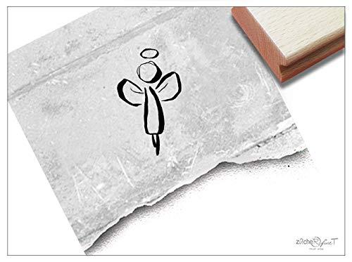 Stempel Motivstempel Engel Schutzengel - Weihnachtsstempel Weihnachten Karten Geschenkanhänger Basteln Weihnachtsdeko Tischdeko - zAcheR-fineT (klein ca. 17 x 29 mm)