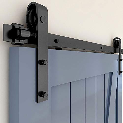 TSMST 10FT/304 cm Kit de riel para puerta corredera, kit de riel para puerta de granja resistente, apto para una puerta de madera única, forma de J