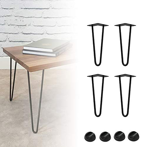Froadp 4x20cm Haarnadel Tischbeine mit Bodenschoner Vorgesetzte Doppel Schweißen Austauschbare Tischgestell φ12mm für Heimwerker Esstisch Couchtisch Schreibtisch Kaffeetisch(2 Stangen, Schwarz)