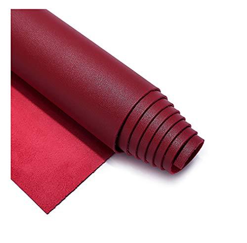 Tela de Polipiel for Tapizar Eco-Cuero Imitación d Tela de Imitación de Cuero, Suave tejido de piel ecológica Cuero Sintético, Material de Tacto Suave, Tapicería con Textura-Vino tinto 18 # 1.38×10m