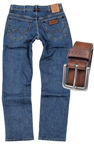 Wrangler Texas Stretch Herren Jeans Regular Fit inkl. Gürtel (W36/L32, Stonewash + brauner Gürtel)