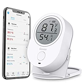 Govee Temperature Humidity Monitor, Bluetooth Room Humidity Sensor with APP Alert, 328 Feet Bluetooth Covering Range, 2… 2 Accuracy: With a built-in Swiss-made sensor, the temperature is accurate to ±0.54°F and humidity is ±3%RH. Enjoy precise data from the hygrometer thermometer every 2 seconds. Smart App Alerts: Set preset temp and humidity ranges with the Govee Home App, and if levels fall out of that range, you'll receive a notification instantly. Respond faster to changes in your wine cellar, greenhouse, or terrarium. 328Ft Wide Bluetooth Covering Range: Detecting range is up to 328 feet without obstructions. You can track the data remotely via Bluetooth on the Govee Home App within this distance.