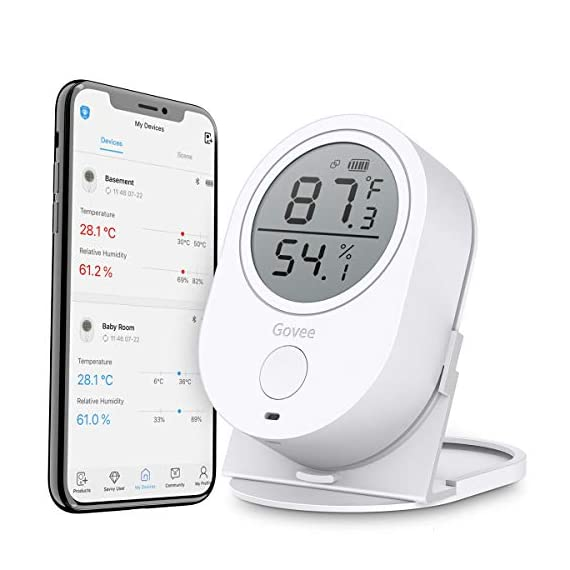 Govee temperature humidity monitor, bluetooth room humidity sensor with app alert, 328 feet bluetooth covering range, 2… 1 accuracy: with a built-in swiss-made sensor, the temperature is accurate to ±0. 54°f and humidity is ±3%rh. Enjoy precise data from the hygrometer thermometer every 2 seconds. Smart app alerts: set preset temp and humidity ranges with the govee home app, and if levels fall out of that range, you'll receive a notification instantly. Respond faster to changes in your wine cellar, greenhouse, or terrarium. 328ft wide bluetooth covering range: detecting range is up to 328 feet without obstructions. You can track the data remotely via bluetooth on the govee home app within this distance.