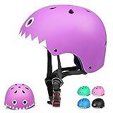 Casco Bicicleta para Niños Casco Infantil Ajustable para Monopatín Patinaje BMX Esquiar, Casco para multibles Deportes niño niña de Edad de 3-13 años (Púrpura, Medium)