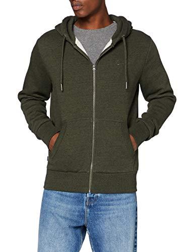 Superdry Mens OL Classic Zip Hood Sweater, Winter Khaki Grit, XX-Large
