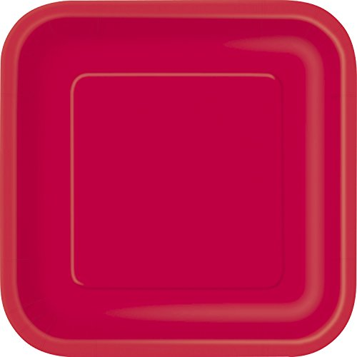 Unique Party- Paquete de 14 platos cuadrados de papel, Color rojo, 23 cm (31493)