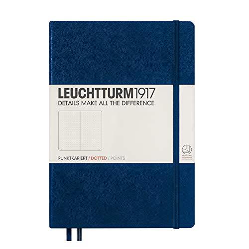 LEUCHTTURM1917 (342925) Carnet Medium (A5) couverture rigide, 249 pages numérotées, pointillés, bleu marine