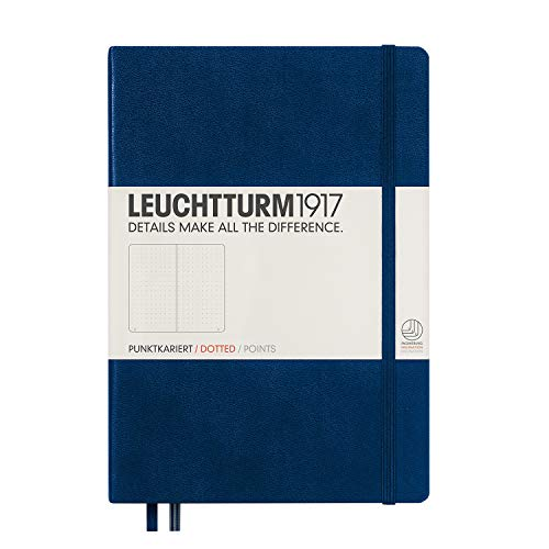 Leuchtturm1917 Medium A5 Dotted Hardcover Notebook (Navy) - 249 Numbered Pages