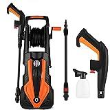 Limpiador de alta presión (1900 W, presión: 150 bares, caudal máximo: 450 l/h, manguera de 8 m, 5 m de cable, soporte para cables y cables, color naranja