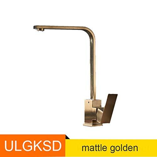 Kicthen da 5151BuyWorld waterkraan, goudkleurig, keukenkraan, koud- en warmwaterarmatuur, mengkraan, Kicthen da Goud