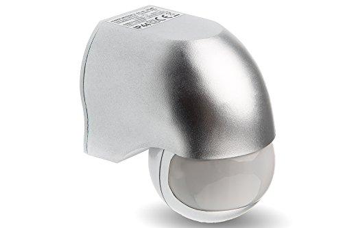 HUBER MOTION 3 Infrarot Bewegungsmelder 180° Innen/Außen Bewegungssensor IP44 I 230V Bewegungsmelder LED geeignet, horizontal/vertikal verstellbar, silber